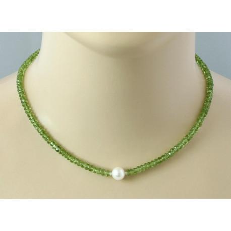 Peridotkette facettierter grüner Peridot mit Perle 43,5 cm-Edelsteinketten