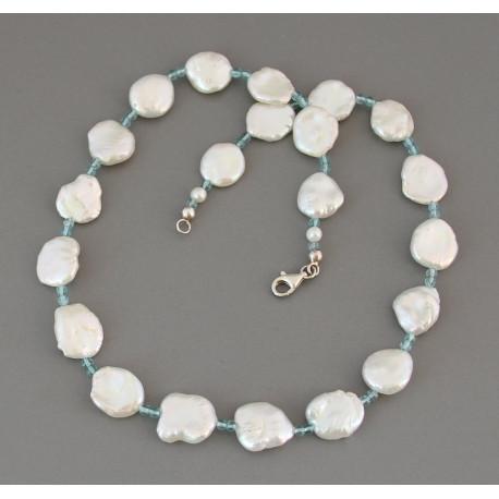 Perlenkette Keshi-Perlen mit Apatit Halskette für Damen 47,5 cm-Perlenketten