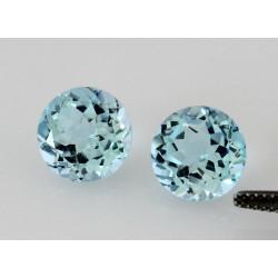 Topas Paar Blau-Topase 10mm rund facettiert Sky Blue