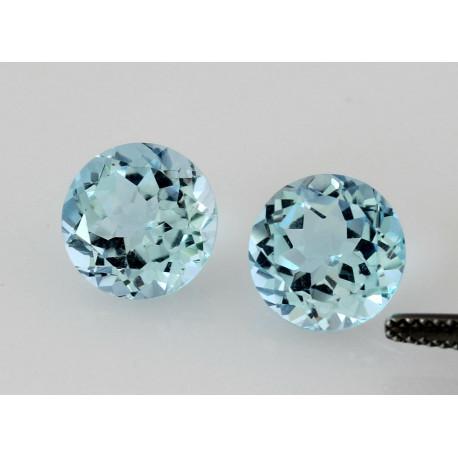 Topas Paar zwei Blau-Topase 10mm rund facettiert-Edelsteine
