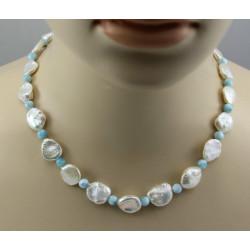 Keshi Perlenkette mit himmelblauem Larimar 46 cm lang