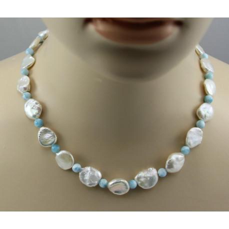 Keshi Perlenkette mit himmelblauem Larimar 46 cm lang-Perlenketten