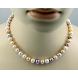 Perlenkette multicolour Süßwasser Zuchtperlen 43 cm lang
