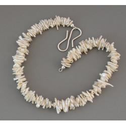 Keshi-Perlenkette weiße Keshiperlen mit S-Haken aus Silber