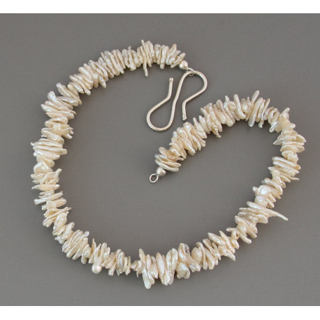 keshi perlenkette wei e keshiperlen mit s haken aus silber in perle. Black Bedroom Furniture Sets. Home Design Ideas