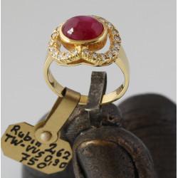 750er Goldring mit Rubin und Diamanten - Ringgröße 52-Gold-Ringe