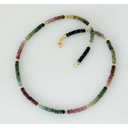 Turmalinkette - facettiert multicolour - 42,5 cm lang