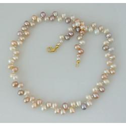 Perlenkette - Collier Süßwasser Zuchtperlen multicolour - 48 cm