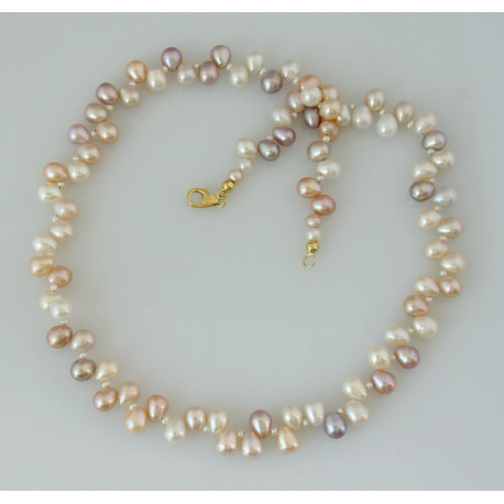 Perlenkette - Collier Süßwasser Zuchtperlen multicolour - 48 cm-Perlenschmuck