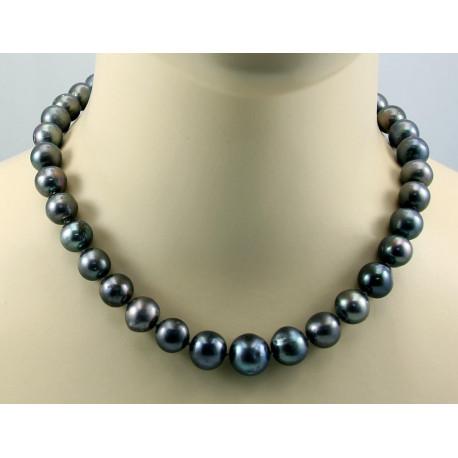 Perlenkette - Süßwasser Zuchtperlen in Tahiti-Farben 46 cm lang-Perlenketten