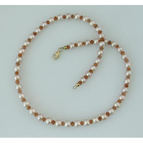 Perlenkette - Süßwasser-Zuchtperlen mit Sonnenstein 48 cm lang-Perlenschmuck