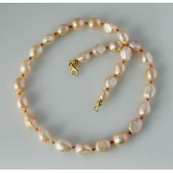 Perlenkette Süßwasser-Zuchtperlen mit Karneol 51 cm lang