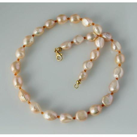 Perlenkette Süßwasser-Zuchtperlen mit Karneol 51 cm lang-Perlenketten