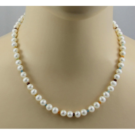Weiße Perlenkette mit bunten Edelsteinen - 47,5 cm-Perlenketten