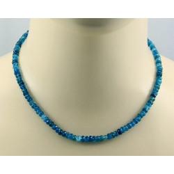 Apatit Kette facettierte Neon-Apatite in blau - 44 cm lang