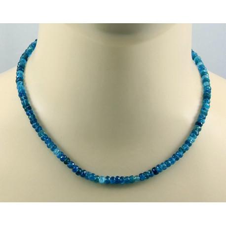 Apatit Kette facettierte Neon-Apatite in blau - 44 cm lang-Edelsteinketten