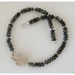 Labradorit Kette mit Perlen und Drusy-Achat 46,5 cm