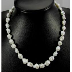 Perlenkette - Keshi-Zuchtperlen Halskette silbrig weiß - 48 cm lang
