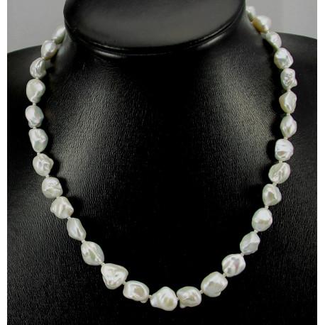 Perlenkette - Keshi-Zuchtperlen Halskette silbrig weiß - 48 cm lang-Perlenketten