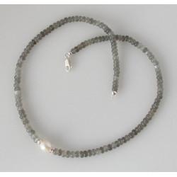 Mondstein Kette - graue Mondstein Halskette mit Perle - 46,5 cm