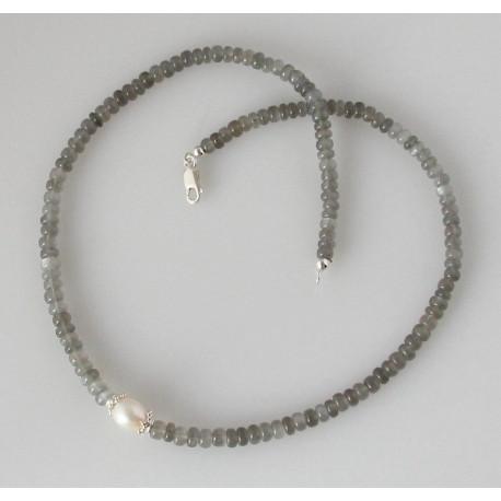 Mondstein Kette - graue Mondstein Halskette mit Perle - 46,5 cm-Edelsteinketten