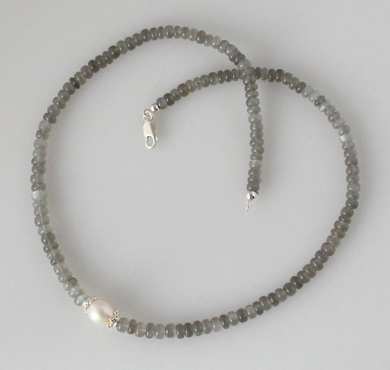 mondstein kette graue mondstein halskette mit perle 46 5 cm in. Black Bedroom Furniture Sets. Home Design Ideas