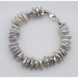Perlen-Armband - weiße Keshiperlen mit Silberschließe 19 cm