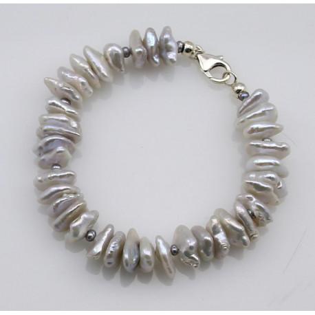 Perlen-Armband - weiße Keshiperlen mit Silberschließe 19 cm-Perlen-Armbänder