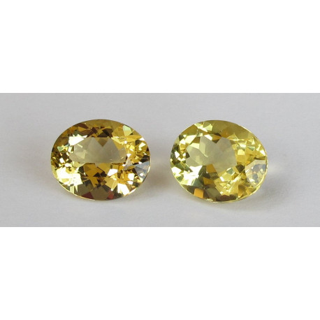 Goldberyll Paar oval facettiert 6,91 Karat-Edelsteine