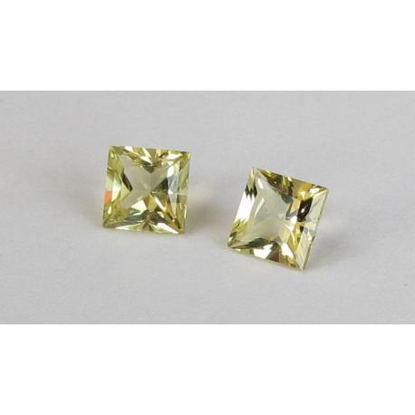 Goldberyll Paar Quadrate facettiert 1,27 Karat-Edelsteine