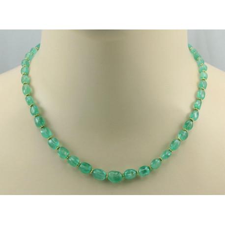 Smaragd Kette - grüne Smaragde aus Russland Halskette 45 cm-Edelsteinketten