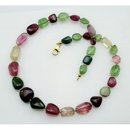 Turmalinkette - rosa rote und grüne Turmaline gemugelt Halskette-Edelsteinketten