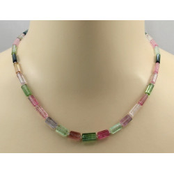 Turmalinkette - rosa grüne Turmalin Kristalle Halskette 46 cm