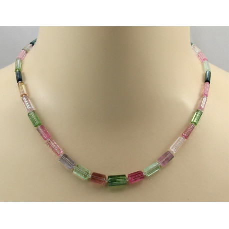 Turmalinkette - rosa grüne Turmalin Kristalle Halskette 46 cm-Edelsteinketten