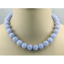 Chalcedonkette - blaue Chalcedon Halskette14 mm rund