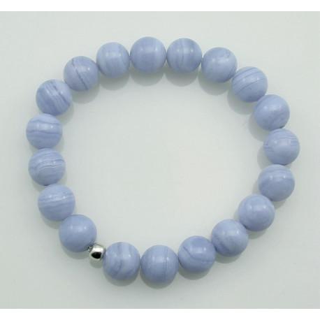Chalcedon Armband - Chalcedon hellblau rund 10 mm-Edelstein-Armbänder