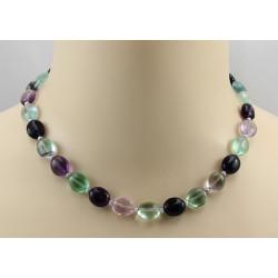 Fluoritkette - grün lila Fluorite mit Perle Halskette für Damen 45 cm