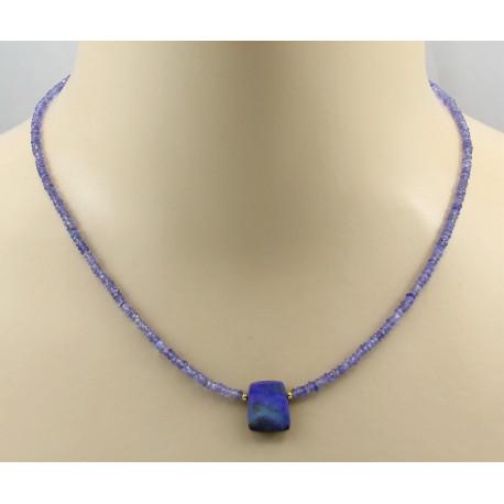 Tansanitkette - Tansanit facettiert mit Boulder Opal Halskette 46 cm-Edelsteinketten