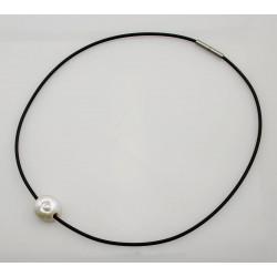 Perle - weiße Süßwasser Perle gebohrt am Kautschuk-Reif Bajonett-Verschluss