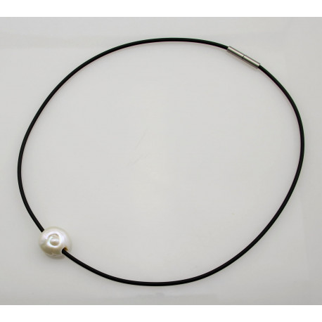 Perle - weiße Süßwasser Perle gebohrt am Kautschuk-Reif Bajonett-Verschluss -Perlenketten