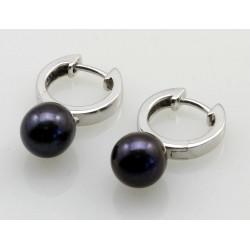 Perlen-Ohrringe - Süßwasser Zuchtperlen grau an Silber Klappcreole -Perlen-Ohrringe