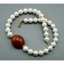 Perlenkette - weiße Süßwasser-Zuchtperlen mit Achat 46,5 cm