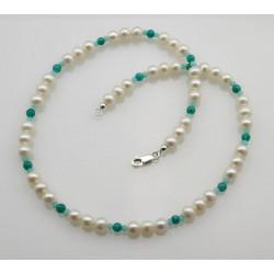 Süßwasserperlen mit blau-grünen  Amazonit Perlenkette 47 cm