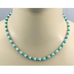 Amazonitkette - grün blauer Amazonit mit Perle Halskette 45 cm