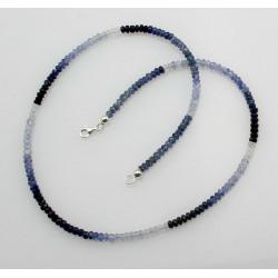 Saphirkette - blau weiße saphire facettiert  44 cm lang