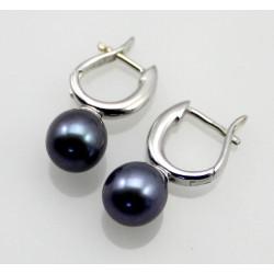 Perlen Ohrringe - Süßwasser-Perlen anthrazit mit Silber Klapp-Creole-Perlen-Ohrringe