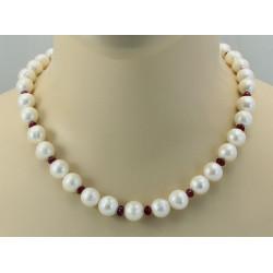Perlenkette - Süßwasserperlen mit Rubin 48,5 cm