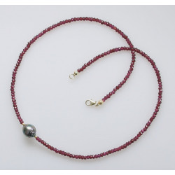 Granat Kette mit Tahiti-Perle 47 cm