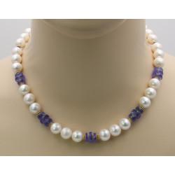 Süßwasser-Perlenkette mit Tansanit 45 cm-Perlenketten