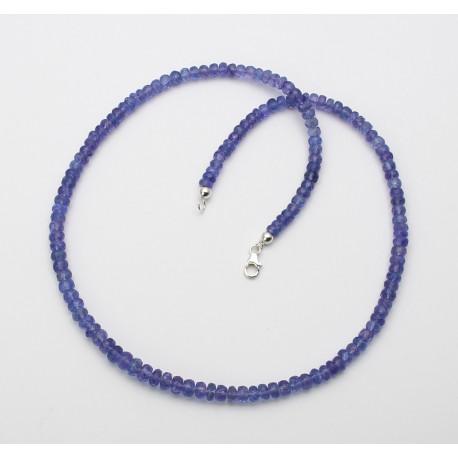 Facettierte Tansanitkette - 44 cm lang mit Silber-Schließe-Edelsteinketten